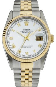 Rolex Rolex 16013 Stainless and 18K Gold DateJust White Roman men's Watch