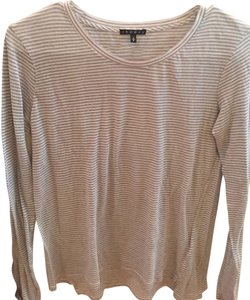 Theory Crew Neck Long Sleeve T Shirt Gray and white stripe