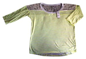 Express Nwt Easy Fit T Shirt Neon Yellow / White Stripe