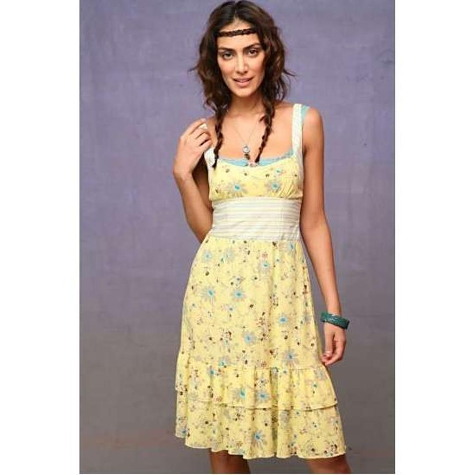 yellow dress flowy free people casual dress short yellow knee length 74 2480