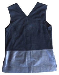 Vince Leather Suede Sleeveless Top Black