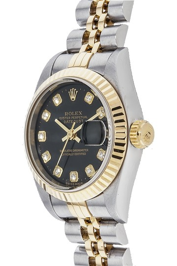 Rolex Rolex 69173 Stainless and 18K Gold DateJust Diamond Black dial Watch