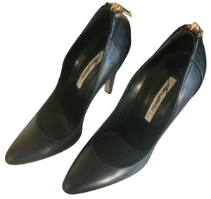 Brian Atwood Leather Zip Heel Black Pumps