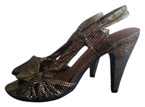 Seychelles Slingback Open Toe Fun Gold and Black Formal