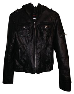 Miss Sixty Hooded Faux Biker Chick Leather Jacket