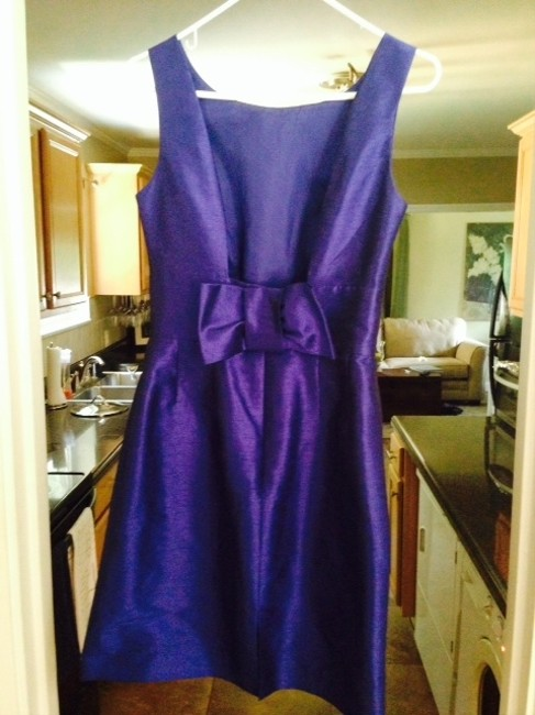 Alfred Sung Cobalt Blue Open Back Bow Bridesmaid Flattering Fit Dress