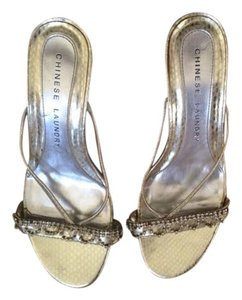 Chinese Laundry Rhinestones Low Heel Sparkle Gold Sandals