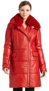 Versace Collection Fox Fur Leather Coat RED Leather Jacket