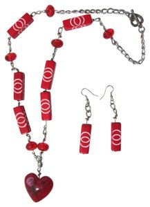 Other Red Beaded Long Necklace & Earring Set with large Heart Pendant