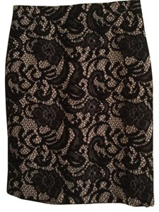 Ann Taylor Lace Black Nude Zip Skirt