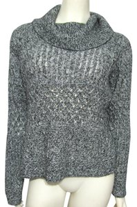 Emma James Open Knit Wool Blend Mohair 4 6 S Small Turtleneck Mock Rayon Long Sleeve Sweater