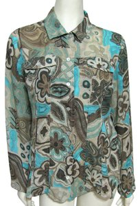 Essentials by Milano Semi Sheer Light Buttoned Shirt Longsleeve Art Retro Floral Brown Blue Tan L Large 12 14 Dots Top multicolor
