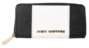 Juicy Couture * JUICY COUTURE BLACK/WHITE LEATHER ZIP AROUND WALLET