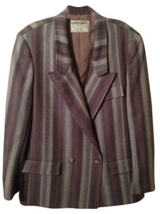 Jaeger Suit Jacket Wool Lined Grey Beige Combo Blazer