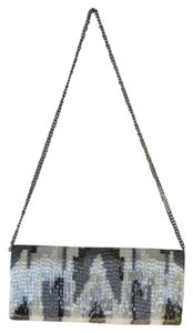 Moyna Beaded white / gray / silver Clutch