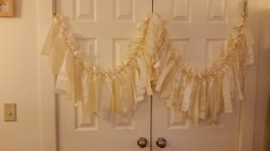 Ivory Vintage Fabric Banner Garland 80 Inch Wide