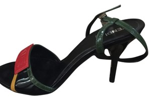 Fendi Green, Black, with Red Accents Pumps