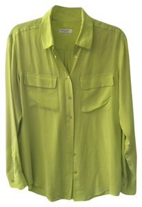 Equipment Classic Work Silk Top Green