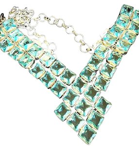 Sky Blue Princess Topaz Bib Statement Necklace Sterling Silver