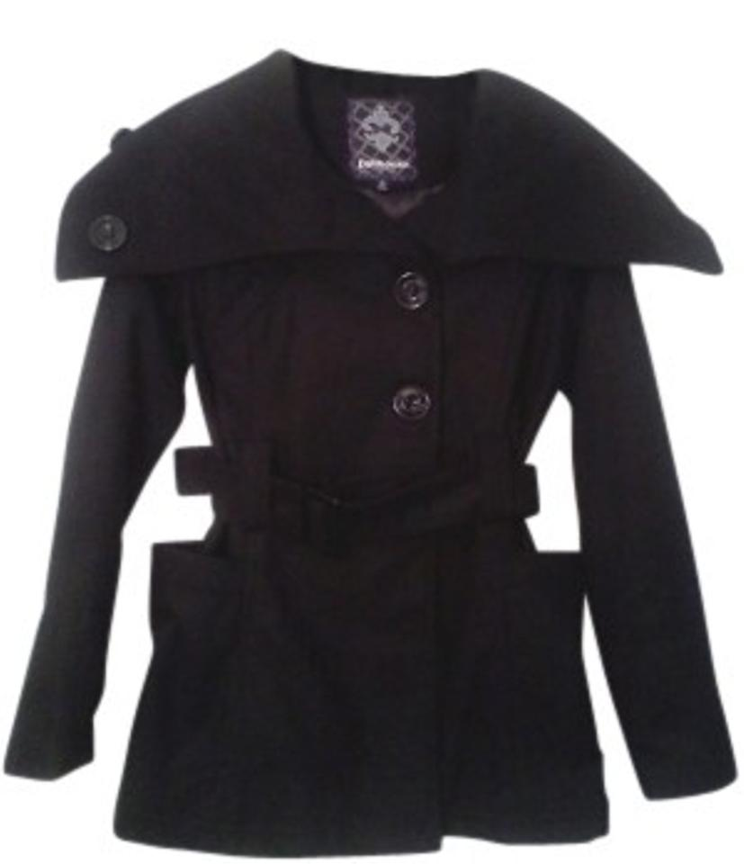 2df5d901dab Dollhouse Black Wide Collar Belted Coat Size 4 (S) - Tradesy