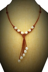 Tan Leather and White Freshwater Pearl & Leather handmade Necklace