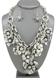 Antique Silver Floral Charms Rhinestone Crystal Accent Statement Necklace and Earrings