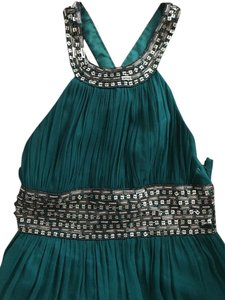 Nina Austin Green Elegant Green Emerald Long Embellishment Decorative Detail Modern Dress