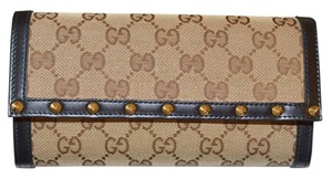 Gucci EBONY BEIGE LOGO GOLD STUDDED LEATHER WALLET