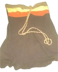 Fang Yellow And Orange Braided Ties brown Halter Top