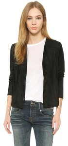 cupcakes and cashmere Suede Fringe Spring Sexy Black Jacket