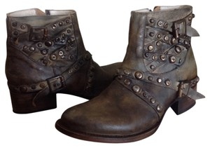 FreeBird By Steven Leather Ankle Leather Studs Brown Boots