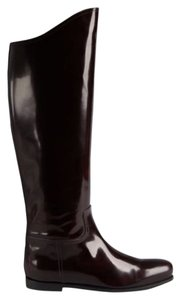 Bottega Veneta Leather Riding Maroon Boots