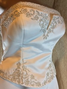 Pronovias White Satin Alcanar Wedding Dress Size 10 (M)