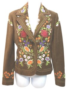 Other Floral Embroidery Velvet Cotton Jacket BROWN Blazer