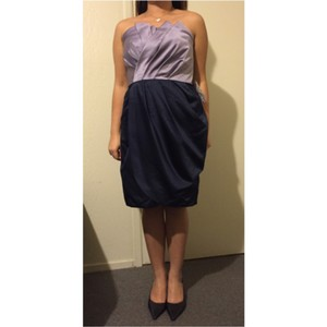White by Vera Wang Orchid and Midnight Satin Formal Bridesmaid/Mob Dress Size 8 (M)