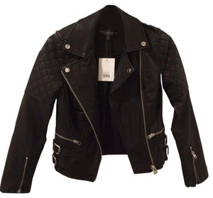 Topshop Leather Faux Leather Quilted Leather Jacket