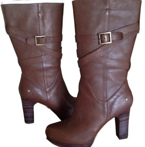 UGG Australia Tall High Heeled Shearling Brown Boots