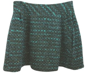 Nanette Lepore Tweed Pleated Skirt GREEN
