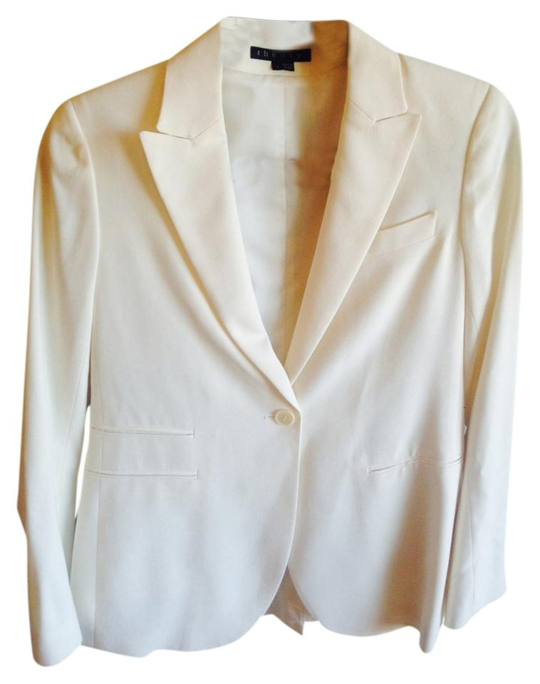 8a6a62598b Theory Winter White Fotini B Stretch Fitted Wool Blazer Size 4 (S ...