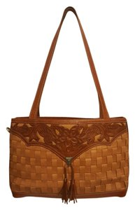 American West Vintage Leather Hand Tooled Shoulder Bag