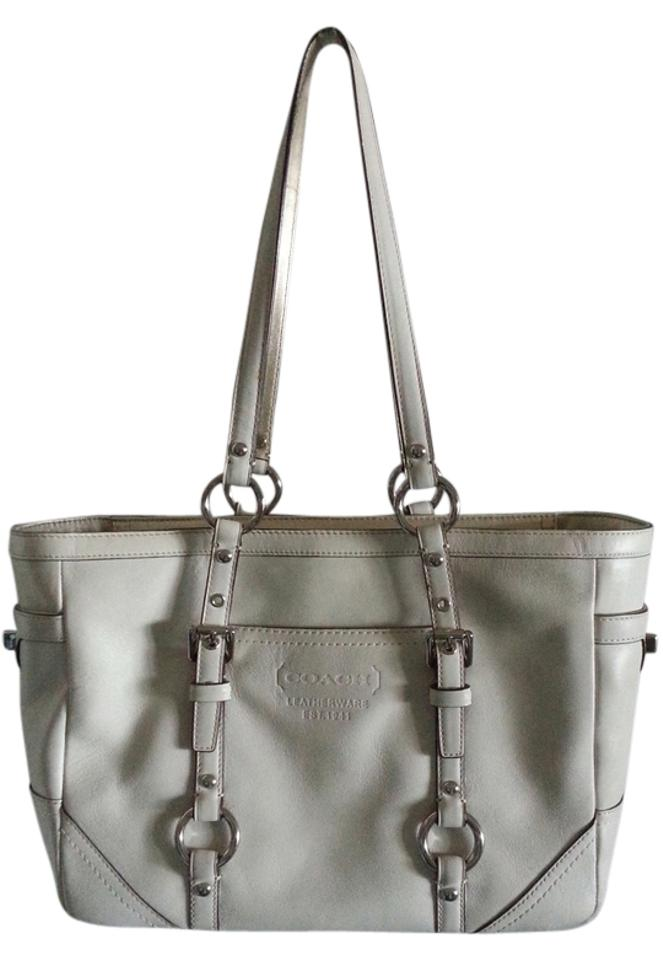 Coach Handbag D0882 F12343 Leather Tote Satchel In Ivory And Gold