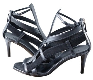 Gucci Suede Leather Silver Buckle Black Sandals