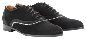 Lanvin Velvet Leather Pointed Toe Rhinestones Black Formal