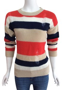 LetsGoShop247 Cutaway Cut-out Warm Cute Party Multi-color Longsleeve Fitted Striped Fall Spring Sweater