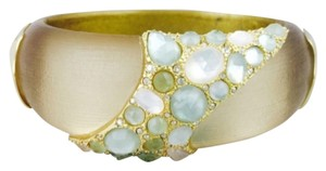 Alexis Bittar Alexis Bittar Gold Lucite And Crystal Jeweled Medium Hinged Bracelet New