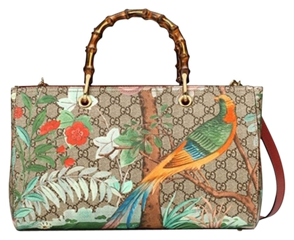 d994405036 Gucci Tian Floral Print Bamboo Handle Shopper Multicolor Canvas Leather Tote