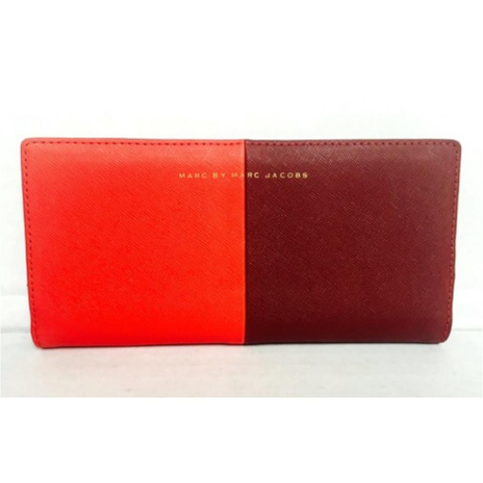 807580d9bbd Marc by Marc Jacobs Red Two Toned Bi Fold Check Wallet - Tradesy