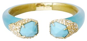 Alexis Bittar Alexis Bittar Turquose Lucite And Crystal Hinged Bracelet New