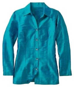 TravelSmith Shirt Blouse Silk Small Size 6 Size 8 Longsleeve Longsleeves Longsleeved Long-sleeve Long-sleeves Long-sleeved Long Button Down Shirt Turquoise Blue