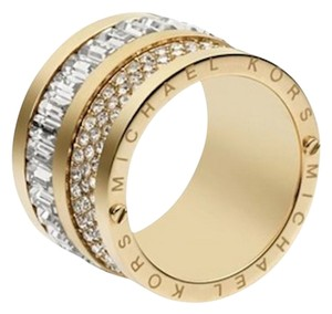 Michael Kors NWT Michael Kors Multi Stone Gold Barrel RIng Size 7 Pave and Stone NEW